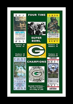 GREEN BAY PACKERS MATTED PHOTO OF ALL 4 SUPER BOWl TICKETS SB 1/2/31/45