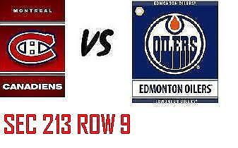 1-2 Tiks Edmonton Oilers Vs Montreal Canadiens Nov 13 Rogers Place  Sect 213 Rw9