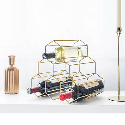 Wine Glass Bottle Rack Freestanding Holder Triangle Iron Art Storage Shelf