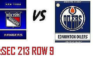 1-2 Tiks Edmonton Oilers Vs New York Rangers Mar 11 Rogers Place  Sect 213 Row 9