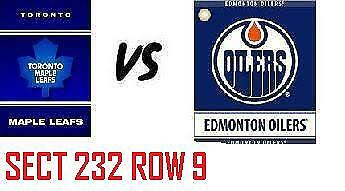 1-2 Tiks Edmonton Oilers Vs Toronto Maple  Leafs Mar 9 Rogers Place  Sect 232 R9