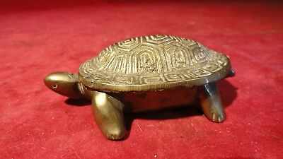 Great Hinged Shell Brass Turtle Ash Or Incense Ornament