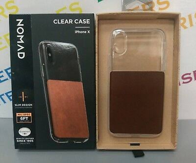 Nomad Clear/Horween Brown Leather Rugged Apple iPhone X Case strong protection