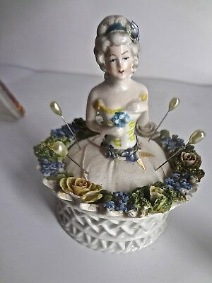 Antique German Half Doll Lady Pin Cushion Ring Holder In Elfinware Style Bowl