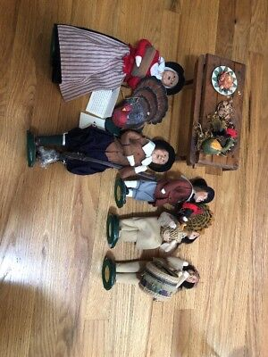 Byers Choice Plymouth Plantation Indians Turkey Lot Of 7 Pieces