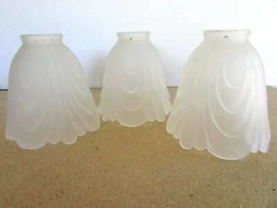 Lot Of 3 Vintage Art Deco Frosted Glass Lamp Shades 3