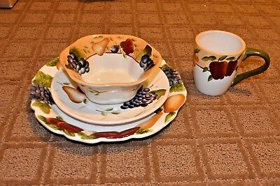 4 Piece Sonoma Fruits Place Setting- Home Interiors- Hand painted