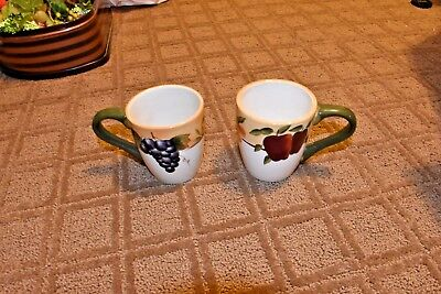 Lot of 2 Sonoma Fruit Home Interiors Coffee Mugs- Earthenware~handpainted