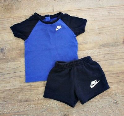 Nike Baby Boys Small Summer Bundle Outfit Navy Blue Shorts Top T-Shirt Age 6-9 M