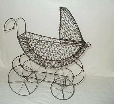 Wire Metal Antique Victorian Baby Doll Carriage Buggy Flip Canopy FREE SHIPPING