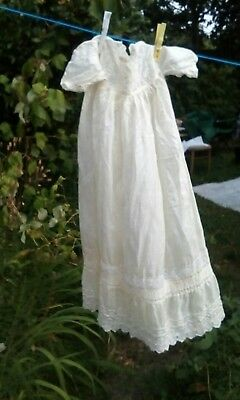 Antique silk and lace baby christening gown Vintage Victorian Edwardian