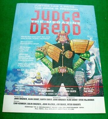 JUDGE DREDD THE MEGAZINE 1st ISSUE FILM POSTER TYPE STUNNING COLOUR  ADVERT 1990