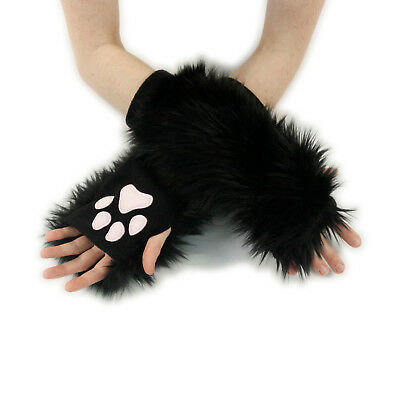 PAWSTAR Paw Arm Warmers - Furry Fingerless Gloves Costume Cat Black [CLABK]3101