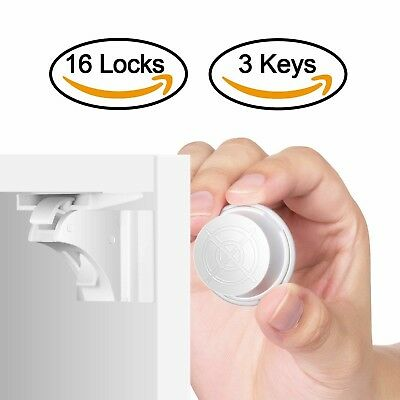 Child Safety Magnetic Cabinet Locks(16 Locks + 3 Keys), Baby Proof, No Tools Or