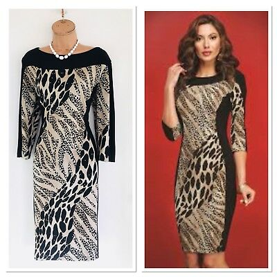 39a328c15d0e4 Beautiful FRANK LYMAN Black Beige/ Animal Print/ Studded Bodycon Dress Uk 20