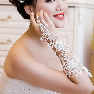 Ivory Bridal Wedding Lace Fingerless Gloves Elbow Length Rhinestone Accents