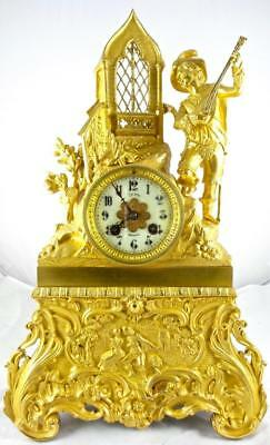 Antique French 19th c Gilt Ormolu Bronze Figural Banjo Player 8 day Mantle Clock