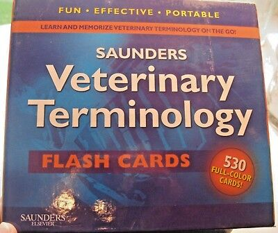 Saunders Veterinary Terminology Flash Cards - 530 Full Color Cards -Mint