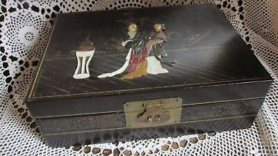 Vintage Art Deco era Chinese Black Lacquered & Inlaid Jade Jewellery Box.