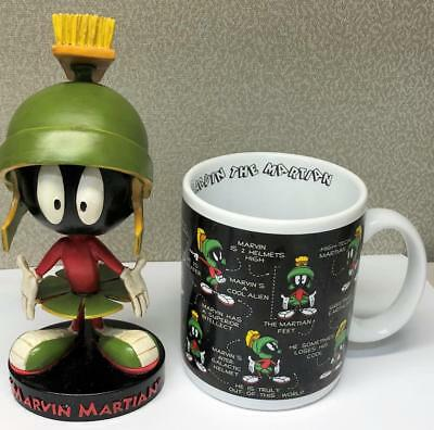 Marvin the Martian Bobblehead Coffee Mug Cup Set 1993 Warner Brothers Store RARE