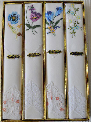 Excelda Floral Embroidered Handkerchiefs - 4 Pairs - Gift Boxed - Made in NI