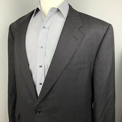 HICKEY FREEMAN Bespoke Blazer Sport Coat 52L Dark Gray Blue Window Pane Wool
