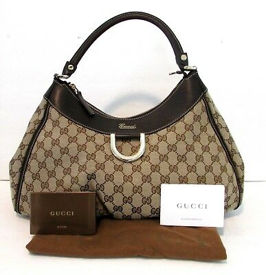 94d7df2aeb4 Authentic Vintage GUCCI D Ring Hobo Shoulder Bag Purse Handbag Tote GG Logo  15x9