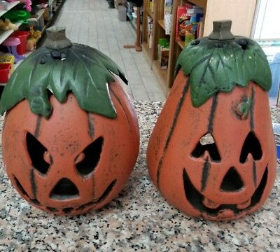 PAIR Cast Iron Halloween Pumpkin Candle-Holder Jack-O-Lanterns EUC ORIGINAL BOX