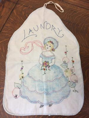 Vintage Hand Embroidered LAUNDRY BAG Pretty Blond Blue Dress Hat Ribbons Flowers