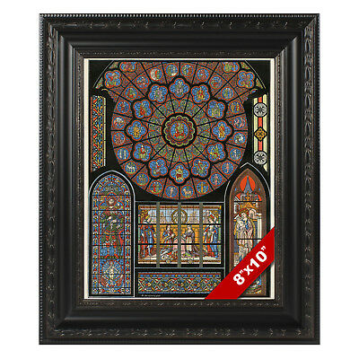 Framed Stained Glass Cathedral Notre Dame Paris Real Canvas Art Print