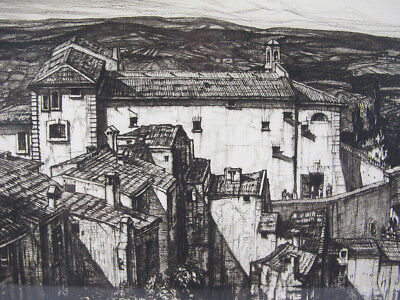 "Vintage Henry George Rushbury ""Carcere, San Gimignano"" Drypoint Etching #2 yqz"