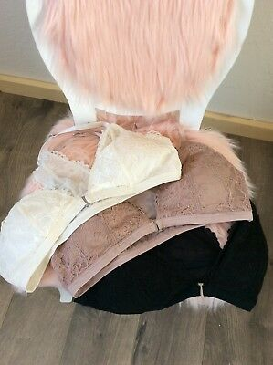 Abercrombie and Fitch lace bralettes set of three cream, blush, black Large size