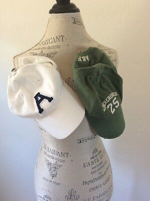 Abercrombie and fitch set of baseball caps unisex green and white