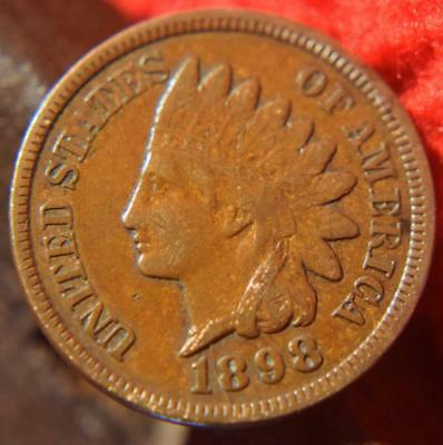1898 Full Liberty Indian Head One Cent Penny Antique Coin Nice Old Vintage Us Nr