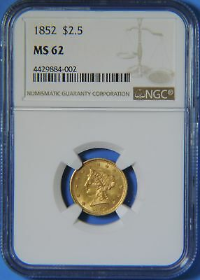 1852 P US $2.5 Dollar Liberty Head Quarter Eagle GOLD Coin NGC MS62 Uncirculated