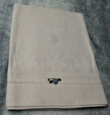 Antique Linen Damask Towel B M Monogram Art Nouveau Water Lily & Cattail Motif