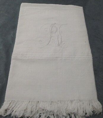 Antique & Fabulous Large Homespun Linen Fringed Towel R F Monogram Heavy Fabric