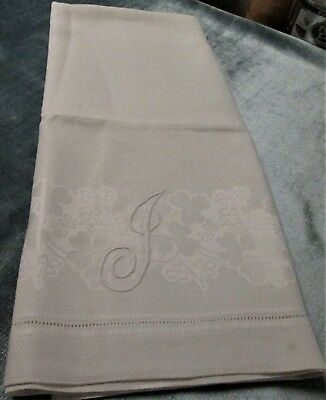 Antique Large Nubby Linen Towel J Monogram Shamrocks Hemstitched
