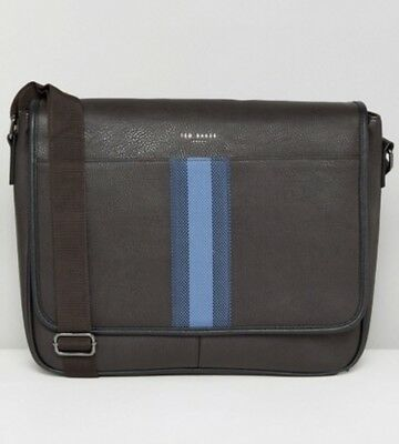 9c29665bd TED BAKER WEBBING Striped Brown Faux Leather Holdall Messenger ...
