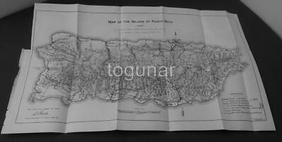 Rare 1903 ISLAND OF PUERTO RICO Folding MAP by Porto Rico Bureau of Public Works