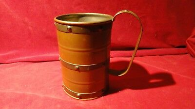 Great Old Vintage Copper Drinking Tankard With Brass Bands - Exc Patina!