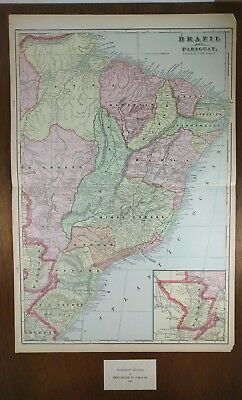 "BRAZIL PARAGUAY Map 1902 Antique Original 14.5""x22"" SAO PAULO Vintage MAPZ125"