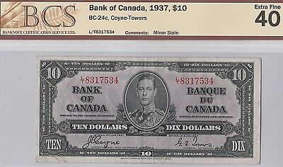 1937 Bank of Canada 10 DOLLAR BILL---Coyne and Towers--- BCS: Extra Fine 40
