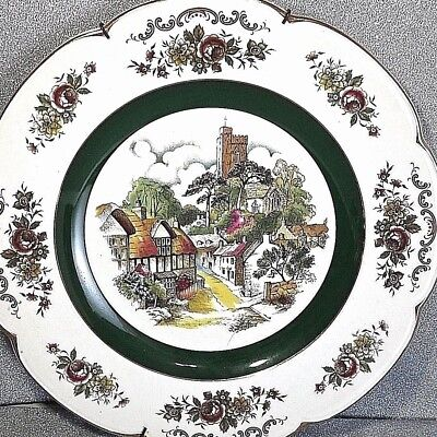 Ascot Service Plate by Wood & Sons England Cottages w Castle Building Background