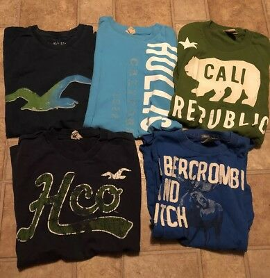 Men's Abercrombie & Fitch and Hollister Lot of 5 T Shirts Size MEDIUM