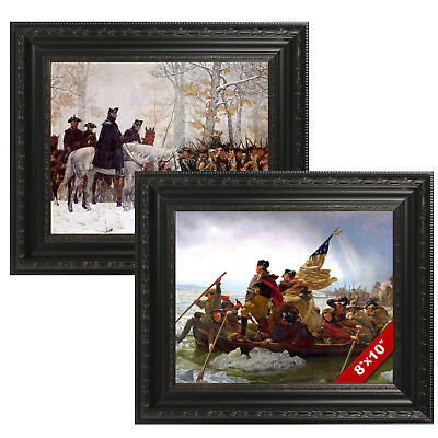 Set Framed George Washington Valley Forge & Delaware Painting Canvas Art Prints