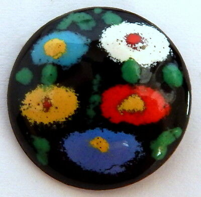 VINTAGE 1940'S-50'S GLASS ENAMELED & COUNTER-ENAMELED BUTTON w/BRIGHT FLOWERS