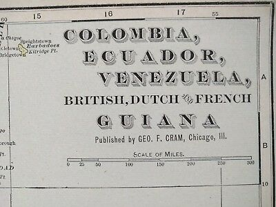 "COLUMBIA ECUADOR VENEZUELA Map 1902 Antique Original 22.5""x14.5"" BOGOTA Old MAPZ"