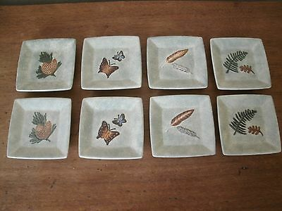 8 MWW Market Square Mini Plates Fern Feather Butterfly Pine cone