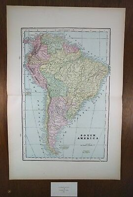 "SOUTH AMERICA Map 1900 Antique Original 14.5""x 22"" BRAZIL CHILE PERU ARUBA MAPZ"